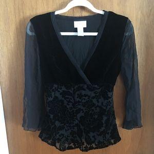 Worthington Velvet silk Black blouse Small